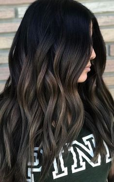 The ashy tones on this brunette are everything. Color by Jerry Anthony. Filed under: Hair Color Hair Styles Hair Stylists Tagged: ASH BRUNETTE balayage beauty brunette hair hair color hair co - August 17 2019 at Black Hair With Highlights, Hair Color For Black Hair, Brown Hair Colors, Cool Hair Color, Hair Highlights, Hair Colour, Lowlights For Black Hair, Black Hair With Ombre, Natural Black Hair Color
