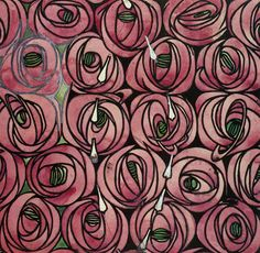 Rose and Teardrop textile design by Charles Rennie Mackintosh, 1915