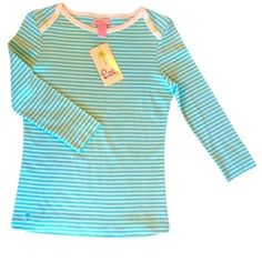 ✨NWT✨ Lilly Pulitzer Blue & White Striped Knit Top NWT! Adorable blue and white striped knit top. Cute button detailing on the shoulders. 3/4 sleeves. Size small, has some stretch. ***NO TRADES*** Lilly Pulitzer Tops Tees - Long Sleeve