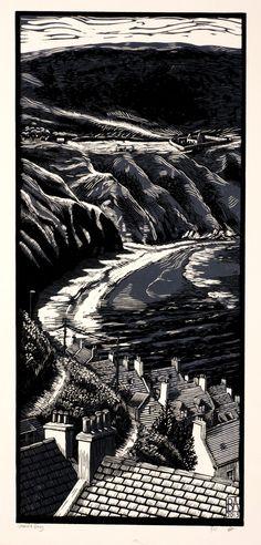 """Bryan Angus (Scottish Artist) Lino Prints: """"Gamrie Bay"""", 2013. bryangusart.com"""