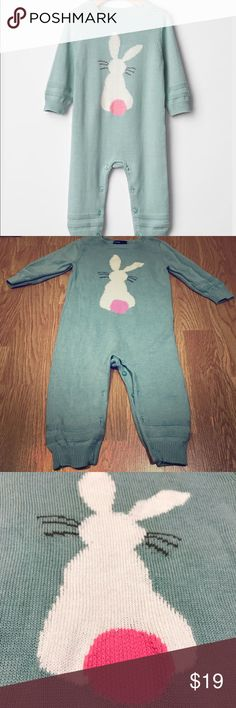 """Baby Gap sweater outfit romper girl boy 6-12 Month Pale teal/Aqua with an adorable white bunny and pink tail. Simplistic and classy!!! Perfect for Easter, and also for the rest of spring!!  24"""" length  5.5"""" arm length from pit  11"""" across pit to pit  ❤️️Smoke free dog friendly home. ❤️️Ask me about other items in this size! ❤️️ $2 shipping discount to add to another item ❤️️ALWAYS OPEN TO CLOSE/FAIR OFFERSJoin my FACEBOOK GROUP:  """"❤️️❤️️WEAR & SHARE CONSIGNMENT❤️️❤️️""""   Thank you for…"""