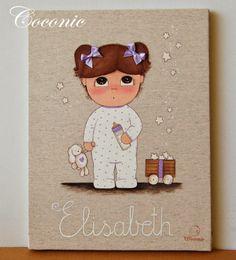 COCONIC: Cuadro infantil pintado a mano y personalizado hora de dormir de niña en pijamita, para Elisabeth como regalo de nacimiento, en tonos blanco y malva.