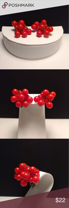 Vtg. Cherry Red Cha Cha Clip Earrings Vtg. Cherry Red Cha Cha Clip Earrings. So cute and so necessary. Final photo shows that a bead is missing... truly unnoticeable otherwise Vintage Jewelry Earrings