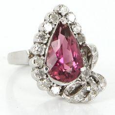 Vintage 18 Karat White Gold Diamond Pink Tourmaline Cocktail Ring Fine Jewelry