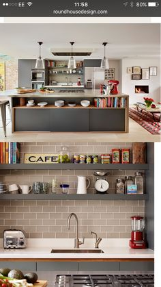 Like the place of the toaster / would only do one shelve across / white subway tiles / also consider placement of sink (hopefully larger space available than this Living Room Kitchen, Kitchen Dining, Willow House, White Subway Tiles, Round House, Toaster, Home Renovation, Interior Design Living Room, Construction