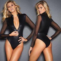 0982bc11e8  EBay  Plus Size Xxxl Black Long Sleeve Bodysuit Women S Mesh Leather  Patchwork Zipper Skinny