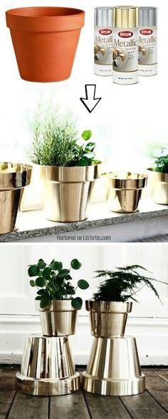 Silver plant pots