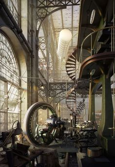 Old Steampunk Engine House by Robert Filip http://www.steampunktendencies.com/post/143998832410/whole-lotta-loft-old-steampunk-engine-house-by