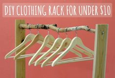 DIY clothing rack for $10 - could possible even do this with only branch pieces?