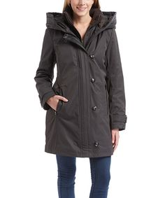 Look what I found on #zulily! kensie Charcoal Hooded Parka Coat by kensie #zulilyfinds