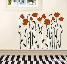 Poppy Field Stencil  See more Flower and Vine Stencils: http://www.cuttingedgestencils.com/stencils-flower-stencil.html  #flower #vine #stencils