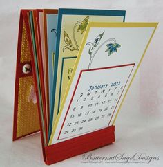 Matchbook calendar - front cover can be closed or flipped back to act as a stand
