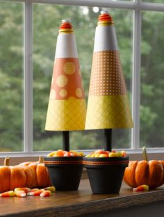 Candy Corns - I've seen these small cones at the Dollar Tree! Super easy and cute!