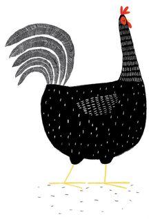 Black hen illustration by Jim Field Fuchs Illustration, Chicken Illustration, Children's Book Illustration, Art Watercolor, Chicken Art, Arte Popular, Art Plastique, Bird Art, Illustrators