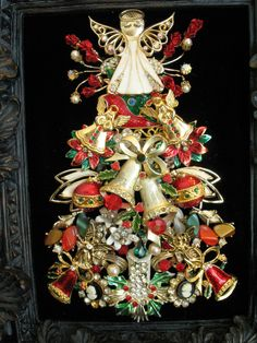 Framed Vintage Jewelry Christmas Tree Art Angel Bells Ornament Candle Cameo | eBay