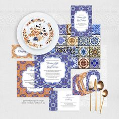 painted portugal wedding stationery set - printable files - spanish tile invitation, reception or ceremony package