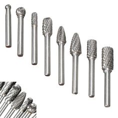 1//8 Shank Delicate wood carving burr 6mm Head Double Cut Solid Carbide Rotary Burr and 3mm Head Carving Grinding Bit