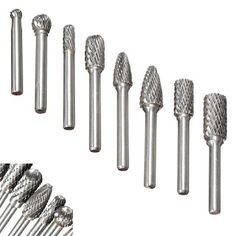 "1//4/""5pc Shank Double Cut Burr Bit Carbide Rotary Grinder Die Engraving Tool Set"