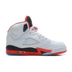 mens authentic air jordan 5 white fire red black retro basketball shoes