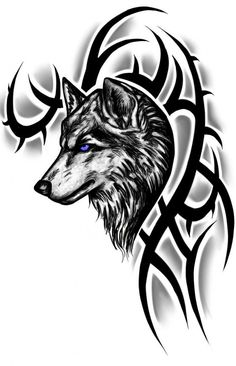Blue Eye Tribal Wolf
