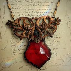 Ornate Brass and Red Glass Necklace