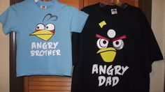 Angry Birds Blue Bird, Black Bird, Red Bird, Pink Bird or Angry Pig T-Shirt Angry Mom, Angry Dad, Birthday Party CustomPersonalized on Etsy, $18.00