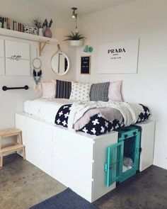 How to incorporate a dog crate with your stylish home decor. – ImpactDogCrates… How to incorporate a dog crate with your stylish home decor. Cute Room Ideas, Cute Room Decor, Diy Teen Room Decor, Dog Room Decor, Cheap Room Decor, Cool Dorm Rooms, Awesome Bedrooms, Kids Rooms, Cool Rooms For Teenagers