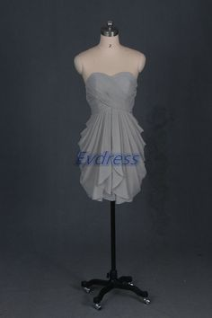 Cute short gray chiffon bridesmaid gownslatest by Evdress on Etsy