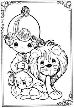 Girl, lion and lamb