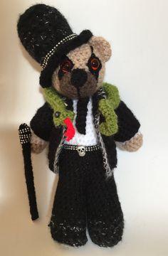 Cooper. Rock mini bear hand crochet teddy bear by MadebySallyJ