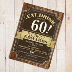Wooden Grain Adult Birthday Party Invitation by TheStarDustFactory, $10.00