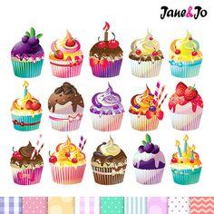 50% OFF SALE Cupcake clipartcupcake digital by JaneJoArt on Etsy
