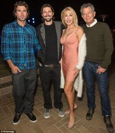 Linda Thompson, Bruce Jenner ex wife, with Brody and Brandon Jenner their children and David Foster, her husband