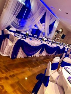 Exceeding shaped quinceanera party Research Royal Blue Wedding Decorations, Blue Wedding Receptions, Blue Party Decorations, Quinceanera Decorations, Quinceanera Party, Wedding Centerpieces, Wedding Colors, Wedding Ideas, Wedding Pictures