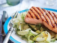 Brown Sugar Grilled Salmon with Zucchini and Fennel Noodles