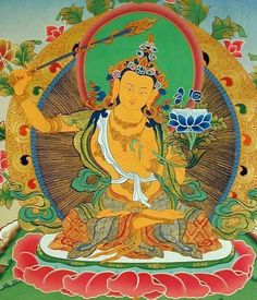 Manjushri, Buddha of Wisdom. His wisdom sword cuts our ignorance. Om Ah Ra Pa Tsa Na Dhi Buddhist Symbols, Buddhist Art, Buddha Buddhism, Tibetan Buddhism, Indiana, Spiritual Pictures, Lotus Sutra, Vajrayana Buddhism, Thangka Painting