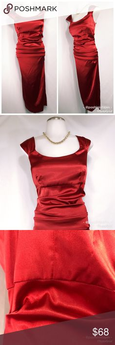 Red Satin Ruched Cocktail Dress sz 10 This gorgeous dress is from Suite 7. It's a satin like material that is ruched on the sides and the back for a sexy flattering fit. It has one minor flaw as shown in the third photo where it's a little pull but it is not noticeable when wearing. This dress is great for special occasions! Zips up the back. High quality construction. Fully lined. Red Suite 7 ruched cocktail dress in size 10. Suite 7 Dresses Midi