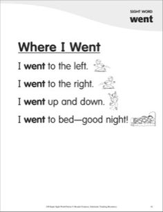 Where I Went (Sight Word 'went'): Super Sight Words Poem Sight Word Sentences, Teaching Sight Words, Sight Word Worksheets, Phonics Words, Teaching Letters, Teaching Phonics, English Worksheets For Kindergarten, Kindergarten Songs, Kindergarten Reading