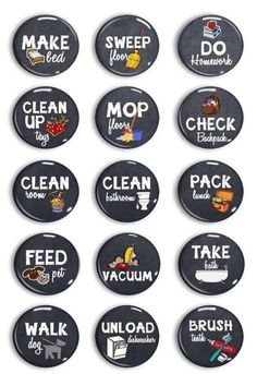 Chalkboard Chore Magnets - Chore Chart Chores - Kids Jobs - Command Center - Daily Reminders - Exercise Routine - To Do Done List - Magnets Chore Magnets, Kids Magnets, Magnets Crafts, Chore Board, Pet Vacuum, Chore Chart Kids, Adult Chore Chart, Weekly Chore Charts, How To Fold Towels