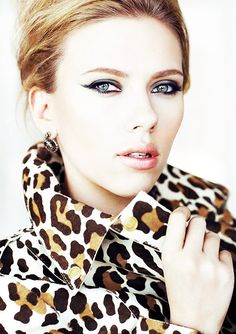 ScaJo in Leopard with a winged eye--soft pink lip.  Striking eyes and balanced nude lips are a great way to up your confidence level.  If you're not really an eye liner kind of gal, try wearing a darker color than you're used to and smudging it on the lid - same effect.  Smoke & mirrors baby.