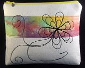 Cosmetic/toiletry bag. Free machine embroidered design