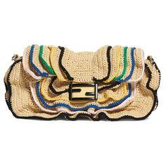 Women's Fendi Raffia Wave Baguette (€2.435) ❤ liked on Polyvore featuring bags, handbags, woven handbags, cocktail purse, evening handbags, holiday purse and beach purse