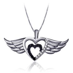 1/7 CT. T.W. Enhanced Black and White Diamond Double Winged Hearts Pendant in Sterling Silver - Zales