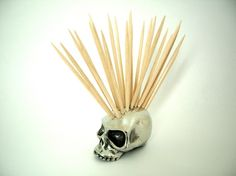 Skull Toothpick Holder, it makes it look like the skull has a Mohawk