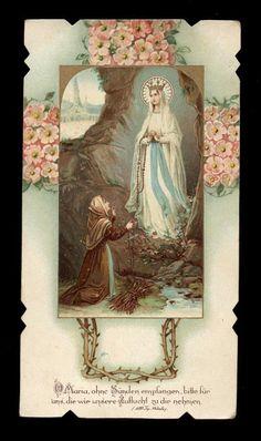 antico santino cromo-holy card MADONNA DE LOURDES 11