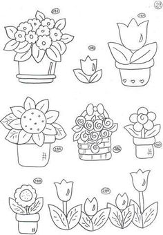 flower pots - embroidery pattern
