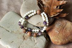 Brown jade, agate, amethyst & pearls