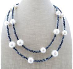 Collana lunga della perla collana di cristallo grigio doppio