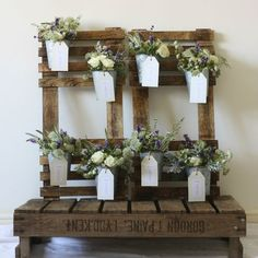Rustic Wedding Table Plan With Flower Pots; Seating chart, wedding reception decor; rustic vintage garden botanical