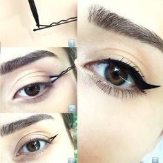 No effing way! LOOK at this trick for a winged eyeliner Cham.- No effing way! LOOK at this trick for a winged eyeliner No effing way! LOOK at this trick for a winged eyeliner – – - Eyeliner Hacks, Cat Eyeliner, How To Apply Eyeliner, Applying Eyeliner, Eyeliner Pencil, Eyeliner Brands, Silver Eyeliner, Bold Eyeliner, Makeup Ideas
